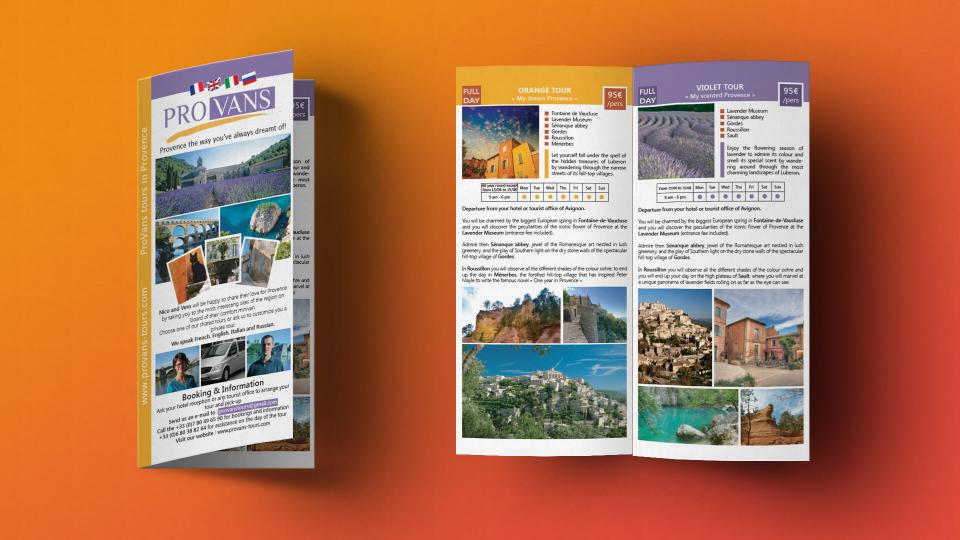 creation brochure excursions touristiques provence